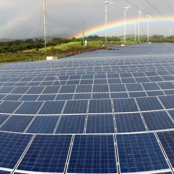 Champ photovoltaïque de production d'électricité sur une ferme d'éoliennes - Réunion